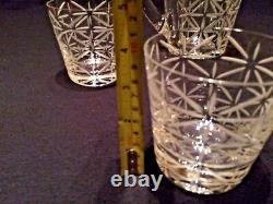 Hermes Crystal Water Jug / Pichet Et 4 Double Tumblers À L'ancienne