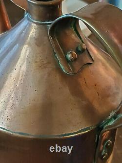 Jug De Cuivre Antique, Canette D'huile, Canette De Lait, Arrosage Peut Très Bon État Antique
