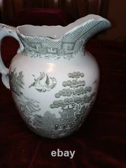 M&m Ye Old Blue Willow Green Silow Water Pitcher Jug