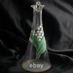 Main Tchèque Antique Peinte Lily Of The Valley Cruche Soufflée D'eau De Verre