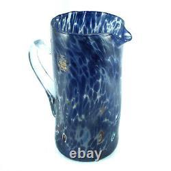 Murano Glass Water Jug Blue Red White Bottle Carafe Pichet Art Millefiori