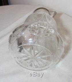 Pichet Antique Cru Eau Cristal Taillé Asci De Silverplate Décanteur De La Chambre De Glace