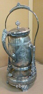 Pichet Antique D'eau Victorienne D'argent D'inclinaison Sur Le Stand Rogers. Gobelet Smith