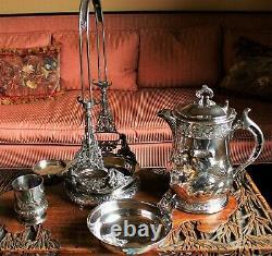 Pichet D'eau De Glace S'inclinant Victorien Américain De Sp Sur Le Cadre -wilcox Silver Plate Co