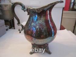 Pichet D'eau Plaqué Argent Antique English Silver Manufacturing Corp 9 1/2