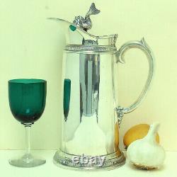 Pichet Italien De Cruche D'eau Solid Silver Thermos. 800 Dolphin Finial 9 3/4 2 Sur 3