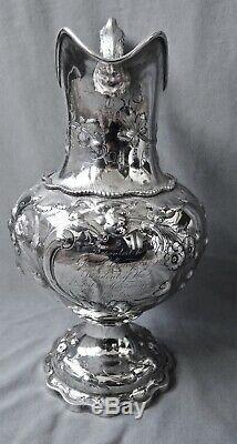 Pitcher Antique Monnaie Silver Water C1858 Jackson Beaucoup De New York 27 Oz 13 1/4