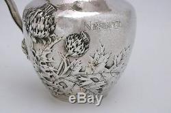 Pitcher International Silver Sterling Martelé Eau Thistle Repousse C1900