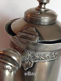 Plaque Antique Quadruple Wilcox Silver Plate Co. # 387 Pitcher Eau Coffee Pot