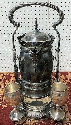 Plaque D'argent Américaine Antique Tilt Lemonade Water Pitcher Deux Gobelets C1871