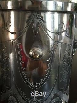 Plaque D'argent Victorienne Antique Basculement Pitcher Eau Avec Support Et Gobelet