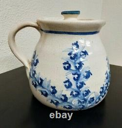 Poterie Dorchester N. Ricci Fecit C. A. H. Blueberry Water Pitcher Jug Withlid Rare