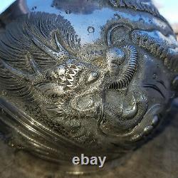 Rare Américain Des Années 1890 Repousse Silver Plated Derby Water Pitcher Japanese Dragon