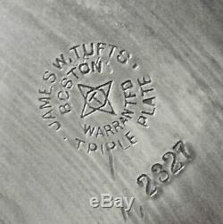 Rare! Atq James Tufts 2327 Slv Plate 2-spout Tilt Lanceur Eau Montage Stands