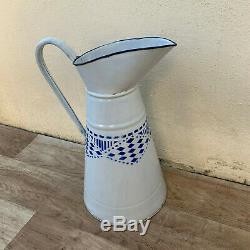 Rare Eau Cruche Cruche Française Vintage Émail Bleu Blanc Émaillé 09041918