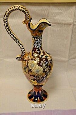 Rare! Fischer J. Budapest Hongrie Pichet Ewer Vase Ou Cruche De Poterie D'eau