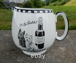 Rare Petite Taille Shelley Poterie Noir Blanc Scottie Chiens Whisky Eau Pot Pot