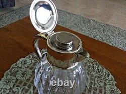 Rare Plaque D'argent Allemande Des Années 1940 Et L'eau De Glace Coupée En Cristal Pitcher Par Quist