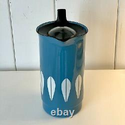 Rare Vintage Cathrineholm Norway Blue Lotus Café Perkolater Jug Water Pitcher