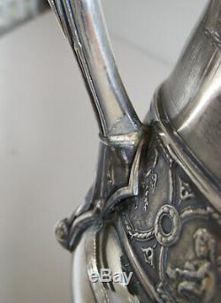Reed & Barton Silverplate Esthétique Glace Pitcher Eau Avec Swan Fleuron Antique