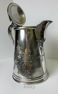 Rogers Smith Plaque D'argent Antique 1858 Meriden Lyman Lanceur D'eau Swan Db. Wal