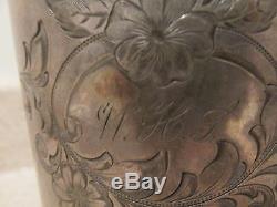 S38 Antique Silver Plate Lion Spout Tankard Lait Pichet Handled Jug