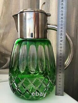 Saint Louis Énorme Pitcher D'eau Pitcher Vert Coupe Cristal Et Argentplate Art Déco