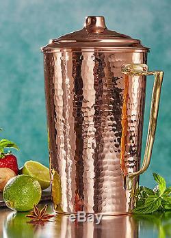 Solide Cuivre Épais Martelé Eau Moscow Mule Pichet Tasse Jug Set, 2200gr