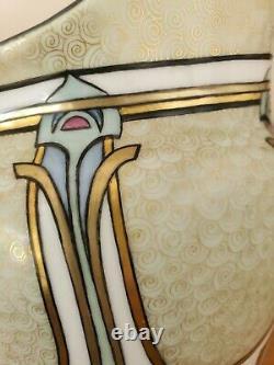 Spirales D'or Peintes À La Main Art Antique Noveau Signé Jug Pitcher