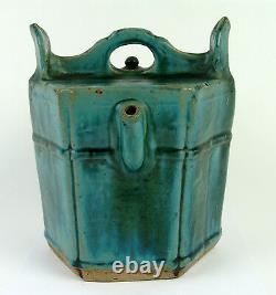 Splendid Antique 18thc Chinois Vert Glaçure Céramique Pot Jug Pitcher
