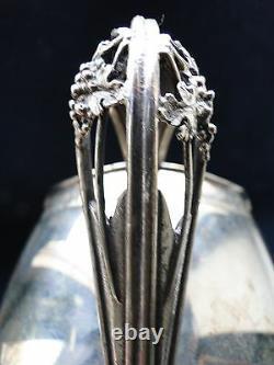 Sterling Silver Italienne Jug Eau Chased Gravé Et Pierced Net Sur La Base