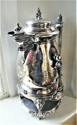 Stimpson Silverpate Aesthetic Movement 1854 Pichet D'eau Inclinée Avec Stand