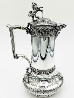 Stupéfiant Elkington & Co Victorian Silver Plate Hot Eau Jug Ewer 1868 Lion
