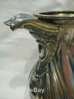Superbe Lourd Antique 19eme En Argent Sterling Pichet 32 oz