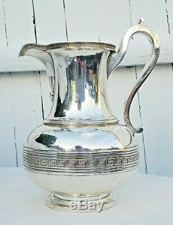 Tiffany & Co. En Argent Sterling 916 Clé Grecque Pichet Rare Sans Etats-unis Navire