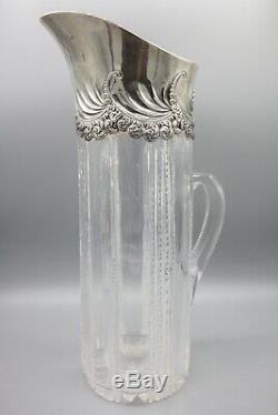 Tiffany & Co En Argent Sterling Abp Américain Brillant Pichet À Eau En Verre Cut Jug