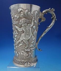 Tiffany Et Co Pitcher D'eau Argent Sterling Avec Gw Et Putti Mythologique (#5220)