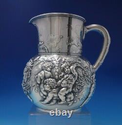 Tiffany Et Co Pitcher D'eau Argent Sterling Avec Putti Instruments Figural #5219