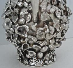 Très Rare Exploitation Minière En Argent Sterling Nugget Couvert Pitcher Eau Tane Mexicaine