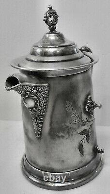 Un Bel Atq! Slv Plate B. G. Uher Tilt Water Pitcher Coffee Pot Stand Wcup Holder