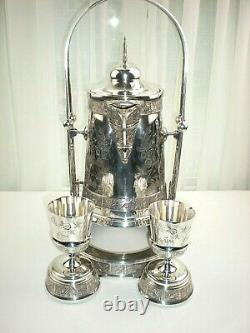 Victorian Aesthetic Pair Point Quadruple Plate Ice Water Tipper Pichet Stand
