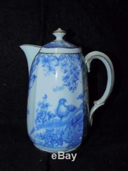 Vintage 1930 Royal Crown Derby Bleu Aves Eau Chaude De Porcelaine Pot Pot Pitcher