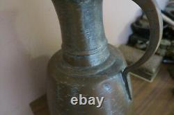 Vintage / Antique Arabe Fait Main Hammered Copper Water Pitcher Ewer Jug 14