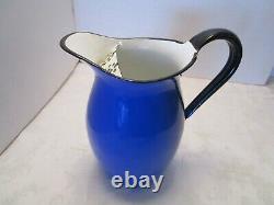 Vintage Bleu Émaillware Eau Pitcher Jug Ferme Avec Lèvre De Glace Japon Oto 9 1⁄2 T