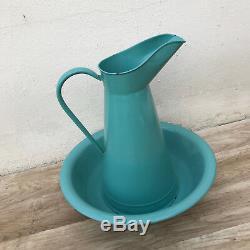 Vintage Français Eau Cruche Cruche Émail Bol Vert Bleu Émaille Mis 2804184