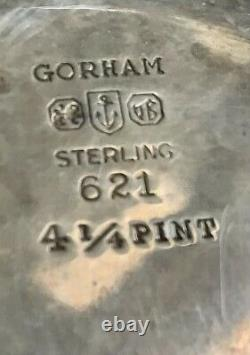 Vintage Gorham Sterling Argent Pichet D'eau 4,25 Pt #621 24oz Art Déco Monogram