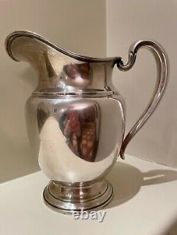 Vintage International Silver Company Isc Sterling Water Pitcher 4 1/2 Pintes 9 In