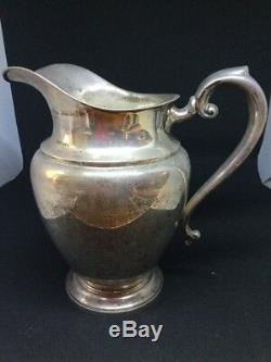 Vintage Preisner En Argent Sterling Grande Cruche D'eau Pot Carafe 9 Grand Domaine