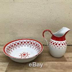 Vintage Set Français Bol Émaille Eau Cruche Cruche Émail Blanc Rouge 1110182