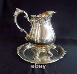 Vintage Wallace Baroque Silverplate 9.5 Tall Water Pitcher 267 Avec Plateau